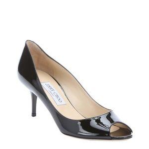 Jimmy Choo Black Patent Leather Isabel Peep Toe